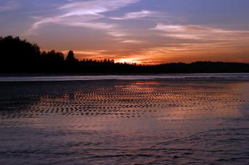 Coast of peninsula Sematan. Evening. Borneo