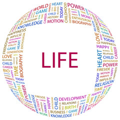 LIFE. Word collage on white background.