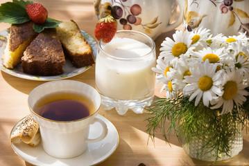 Morning tea in the summer in a garden