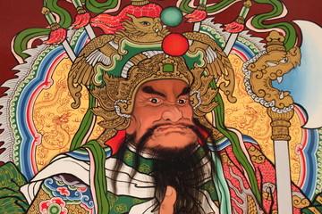 art painting on door of Wang Grood Shrine, Sa Tuk, Buriram