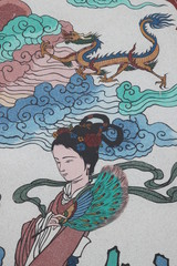 art painting on wall of Wang Grood Shrine, Sa Tuk, Buriram