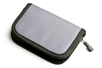 gray purse isolated on white