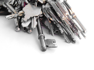 Many old keys bundled on rings