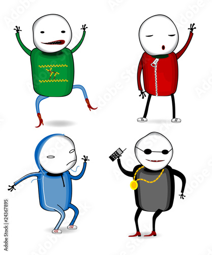 Cartoon Characters Dancing : Quot four dancing cartoon characters stock image and royalty