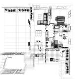 Pianta ortogonale casa wireframe cad arredamento for Arredamento cad