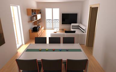 salotto 3d rendering