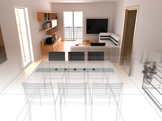 salotto wireframe 3d rendering
