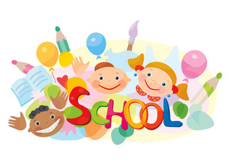 School! Fun kids different races.