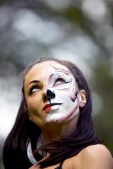 woman with tigress face art