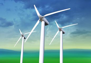 three white wind turbines