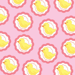 Seamless wallpaper with cute ducks
