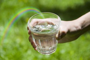 グラスと水