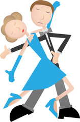 Couple dancing tango, blue dress and tuxedo