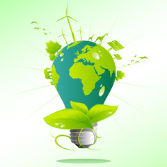 Blue green Earth light bulb