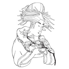 Japanese girl with a flower. Vector illustration