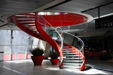 Foto op Plexiglas Trappen Red spiral staircase #1