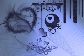 Retromotive und Herzen mit Hintergrundmuster