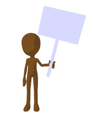 Cute Brown Silhouette Guy Holding A Blank Sign