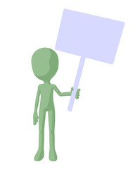 Cute Green Silhouette Guy Holding A Blank Sign