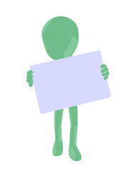Cute Green Silhouette Guy Holding a Blank Business Card