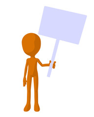 Cute Orange Silhouette Guy Holding A Blank Sign