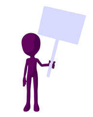 Cute Purple Silhouette Guy Holding A Blank Sign