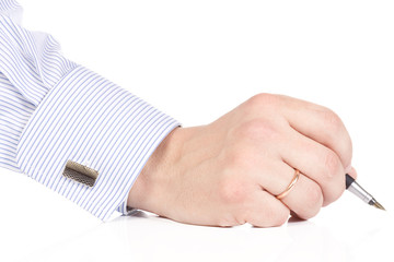 male hand holding pen