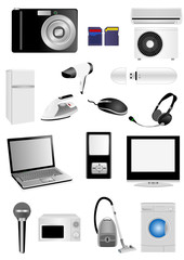 Set of multimedia elements isolated on white
