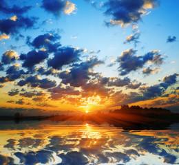 fiery dawn sun