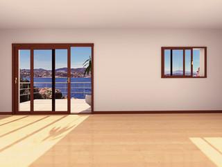 intérieur d'appartement vide vue mer