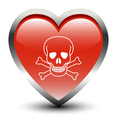 Heart Shape Skull Sign Icon