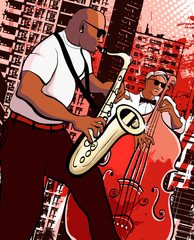 Wall Mural - Vector illustration of a saxophonist and  bassist on grunge city