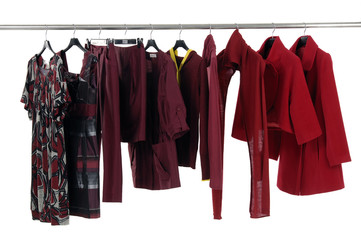 Fashion red female jacket on hangers