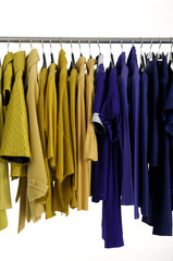 A row of fashion clothing hanging on hangers
