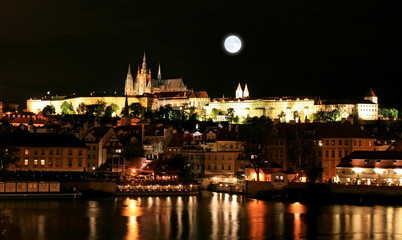 Photo Blinds Full moon The night view of the beautiful Prague City