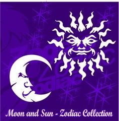 Moon and  Sun.Tribal Zodiac.Vector Illustration.Vinyl Ready.