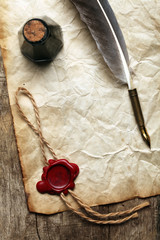 Blank paper with wax seal, quill & ink