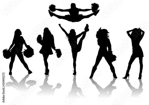 quotset de siluetas de cheerleadersquot im225genes de archivo y