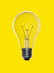 Bulb light over yellow