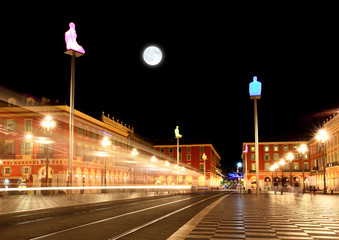 Zelfklevend Fotobehang Volle maan The Plaza Massena Square at night in Nice