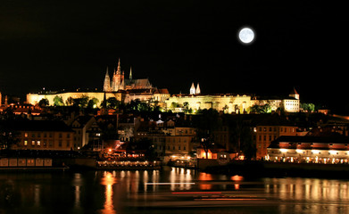 Poster Full moon The night view of the beautiful Prague City