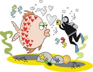 Fish photograph cartoon