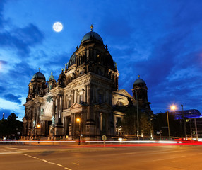 Photo Blinds Full moon the Berliner Dom in the night in Berlin
