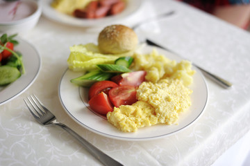 Traditional delicious breakfast with some vegetables