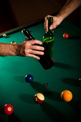 Drinking beer at snooker