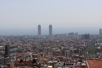 View from Tibidabo on Barcelona