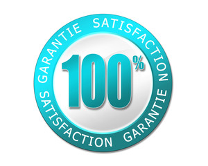 label bleu turquoise garantie satisfaction