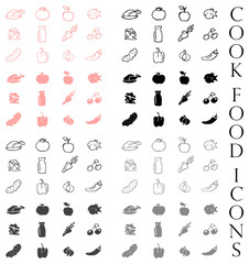 Cook food icons vector set