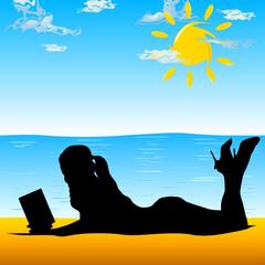 girl reading book at beach vector illustration