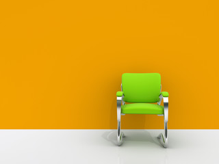 chair near orange wall